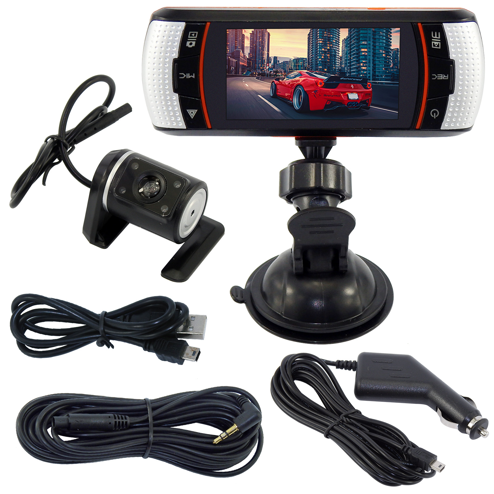 Dual lens DVR Dashboard In Car Recorder Gsenser