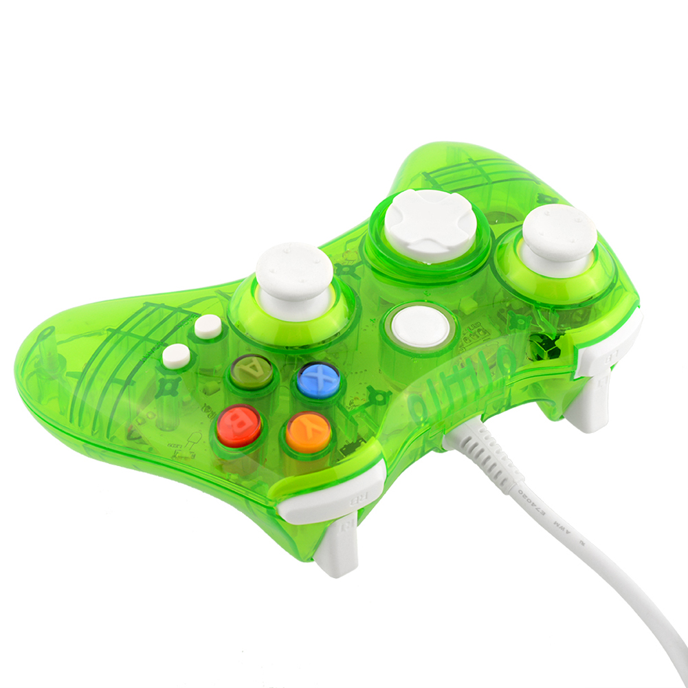 Glow Green USB Wired Controller Joystick for Microsoft Xbox 360 PC New UK Stock